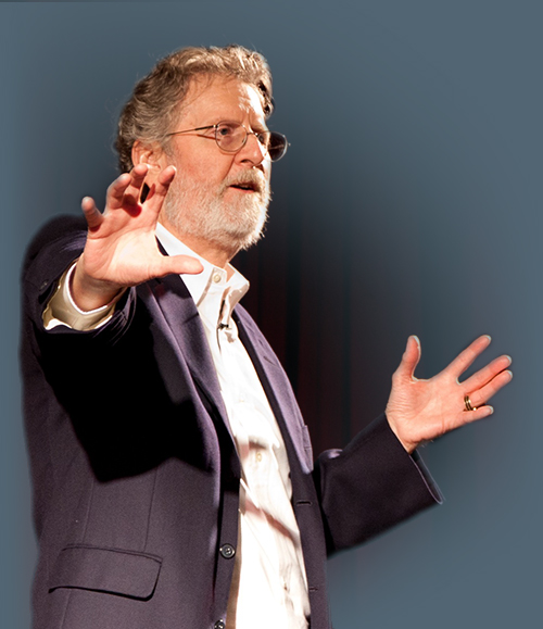 Photo of Michael Hauge giving a keynote about Story Mastery and Character Development